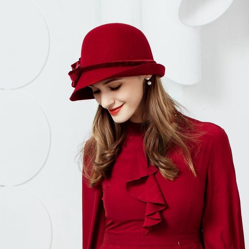 1822baa18 Winter Women Vintage Wool Hat Fedora Fashion Curl Brim Felt Bowler Hat  Female Woolen Cap Floppy Bowknot Cloche Hats B-7473 D19011102