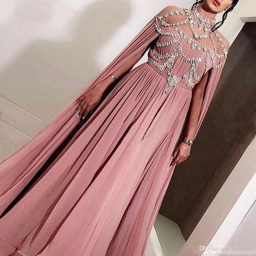 908015440a Pink Muslim Evening Dresses 2019 A-line Illusion High Neck Crystal Chiffon  Islamic Dubai Kaftan Saudi Arabic Gowns
