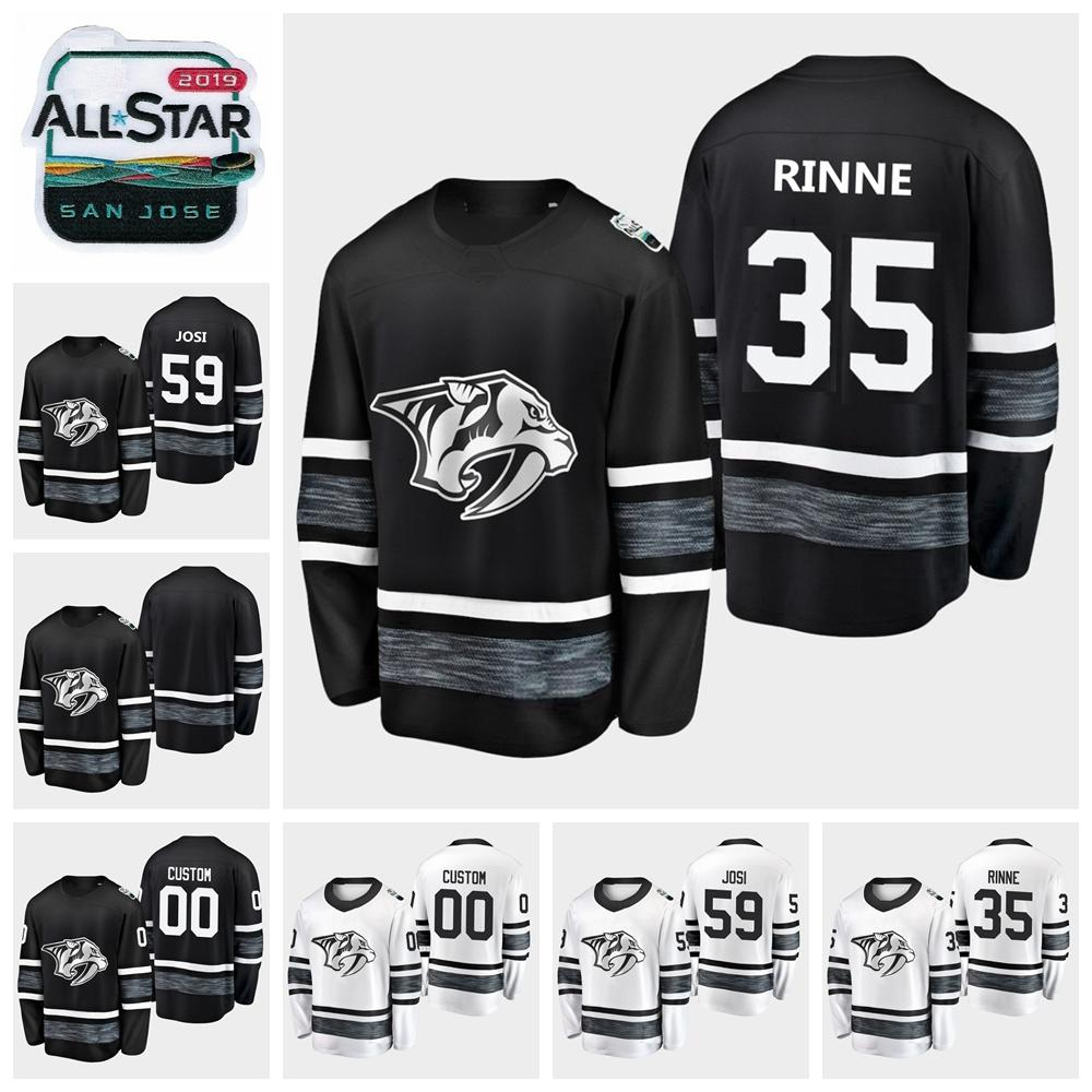 cheaper 3cfc5 efa73 Mens 2019 All Star Game 59 Roman Josi 35 Pekka Rinne Blank Men Nashville  Predators Hockey Jerseys Black White Jersey Stitched