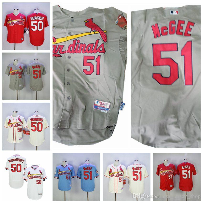 on sale 6fa4c eb3bf Men s St. Louis 50 Adam Wainwright Jersey Cardinals Willie McGee White Red  Grey Cream Cool Flex Baseall Jerseys