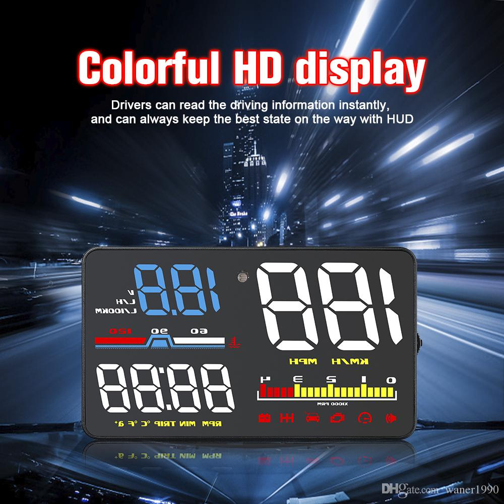 High quality D5000 Car HUD Head-up Display 5 Inch OBD2 Overspeed Warning  System Projector Vehicle MPH KM/h Speed Warn Super Britness