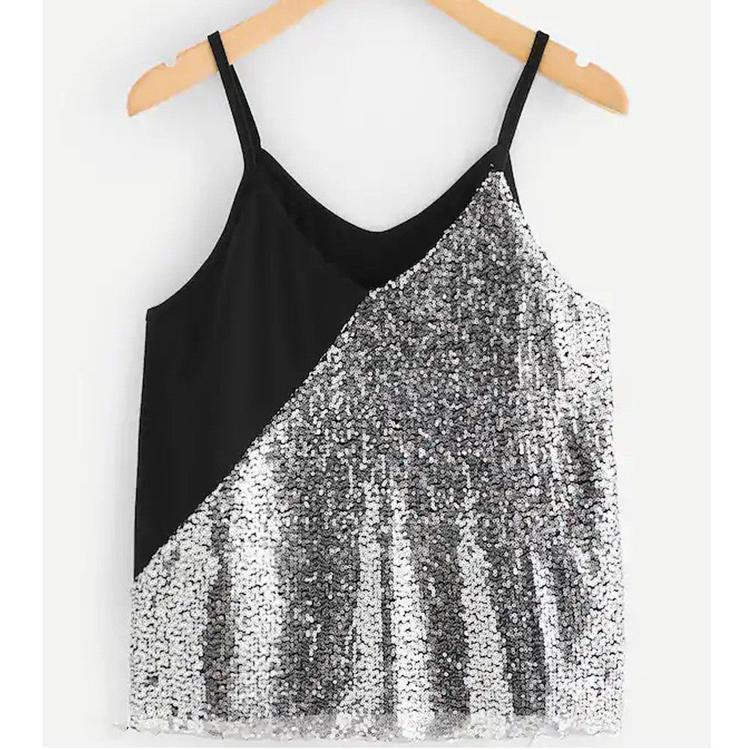 fba3b4789cc98 2019 New Sexy Tee Tanks Tops Women Sequin Crop Top Sexy Vest Fashion  Camisole Sleeveless Patchwork Sequins Tank Top T Shirt From Cravat