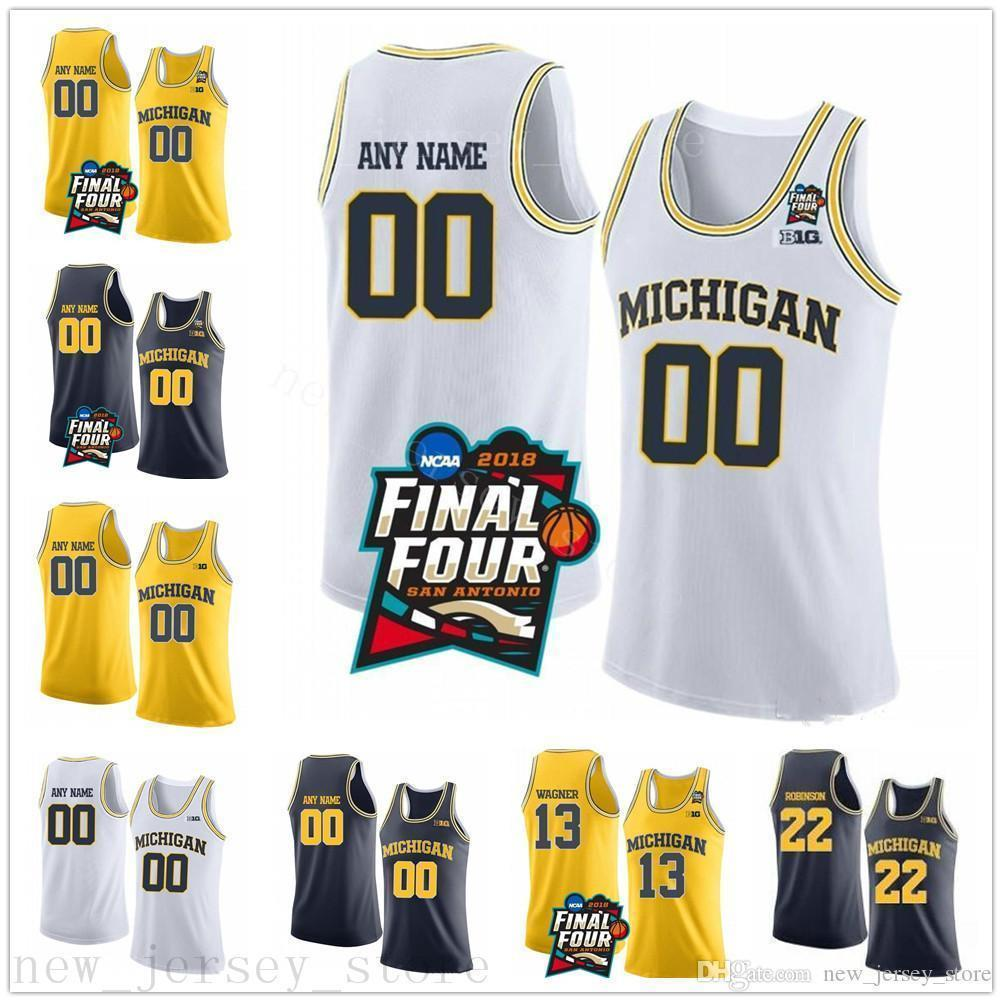 Custom NCAA Michigan Wolverines 3 Zavier Simpson 4 Isaiah Livers 13 Moritz Wagner 15 Jon Teske Stitched Final Four College Basketball Jersey