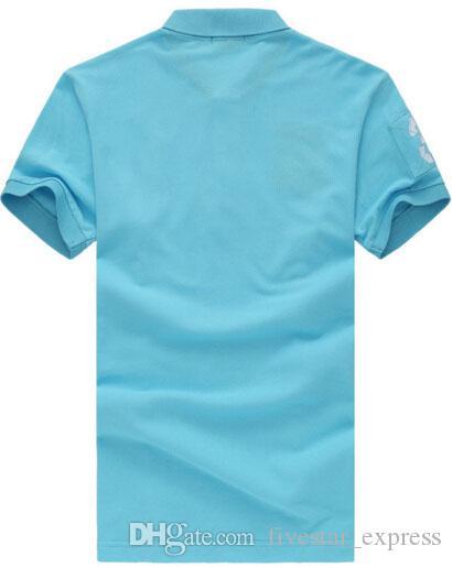 Moda Amerikan Tarzı Erkekler Rasgele Katı Polo Gömlek Büyük At Nakış Klasik Tişörtler Kısa Kollu Polos İş Beyaz Mavi Kırmızı