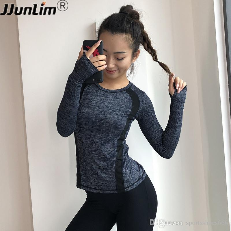 679f981051 2019 Quick Dry Women Yoga Shirts Long Sleeve Sport T Shirt Tight Slim  Running Top Shirts Gym Fitness Tops Workout Outdoor Sportswear #280361 From  ...