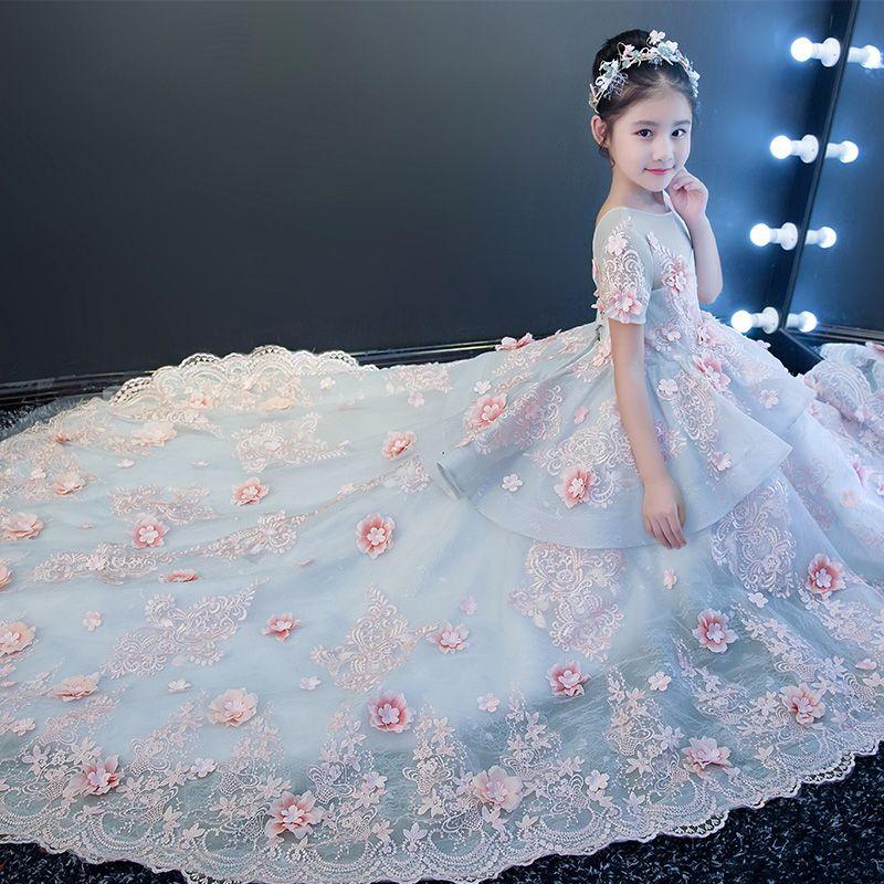 dcb5a55b5b3 Acheter Robe De Princesse Pour Enfants Grande Traînée WeiHua Enfant Montre Robe  De Soirée Robe De Mariée Costumes Amer Fleabane Amer Fleabane Gaze Jupe ...