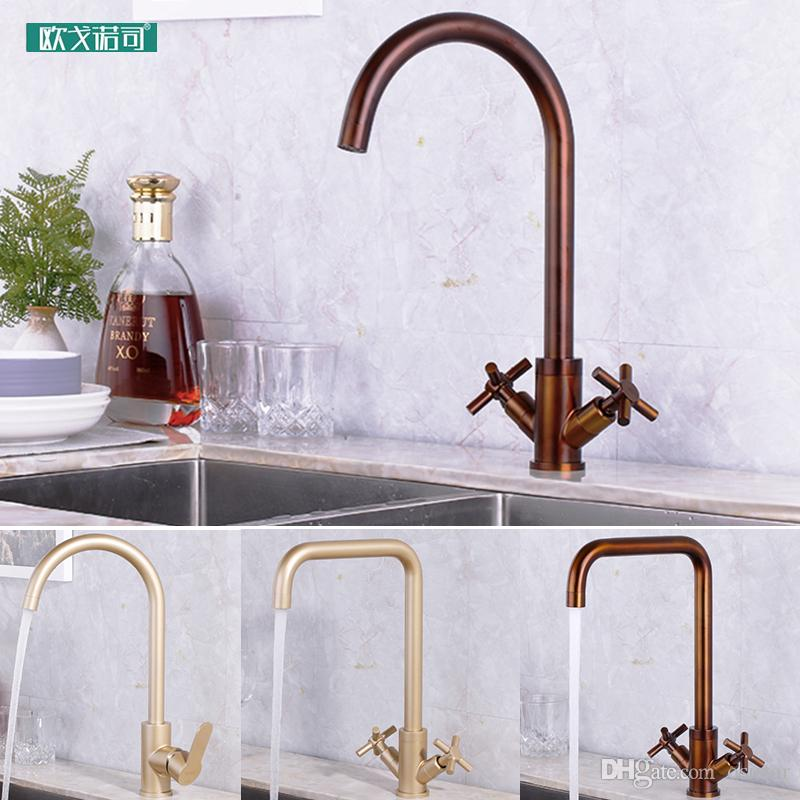 Fantastic Bronze And Champagne Dual Handles Wash Kitchen Sink Faucet Download Free Architecture Designs Sospemadebymaigaardcom