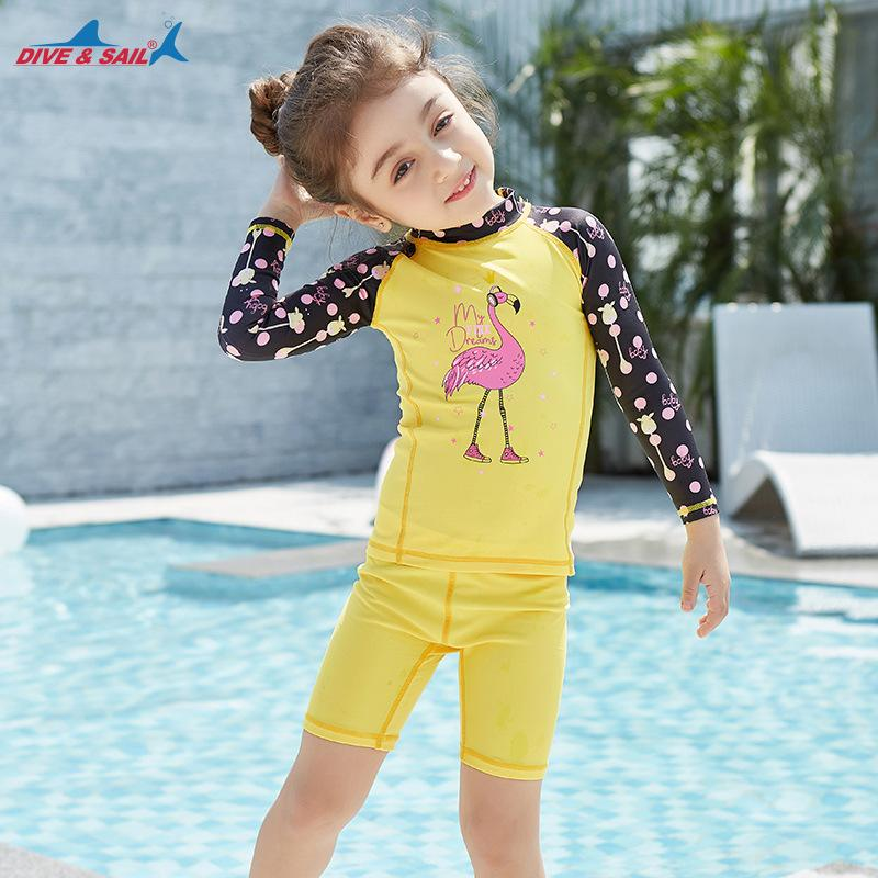 7151b74044 2019 Summer Swimsuit 2018 Girls Boys Rash Guards Long Sleeve Two Piece  Swimwear Set Cute Kids Bathing Suits Baby Boy Swimming Wear From Cbaoyu, ...