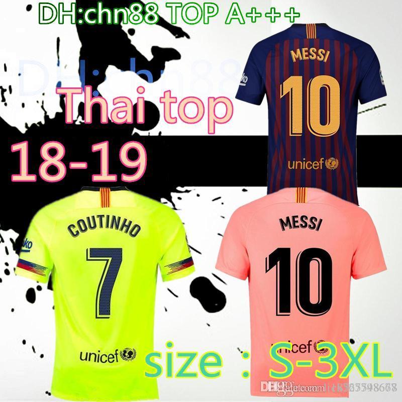 low priced 6d487 7c992 size:S-3XL 2018 2019 FC Barcelona MESSI Soccer Jersey third away pink man  kits 18 19 Suárez DEMBELE COUTINHO football shirt top thai quality