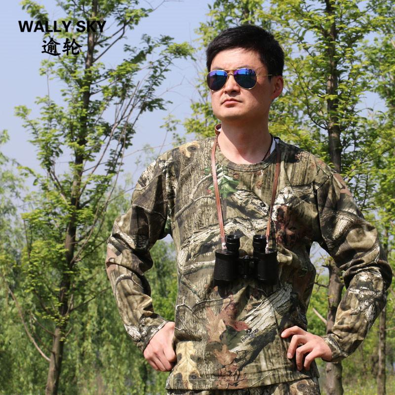 Spring Autumn Jungle Camo Hunting T-Shirt Anti-sweat Breathable Clothes Outdoor CS Tactical Training Hunting Fishing Top