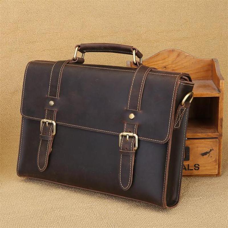 b66ecff6ee Acquista Borsa A Tracolla Messenger Bag Vintage Retrò Uomo Borsa A Tracolla  In Pelle Scamosciata Fatta A Mano Da Uomo In Pelle Di Cavallo Pazzesco Borsa  Da ...