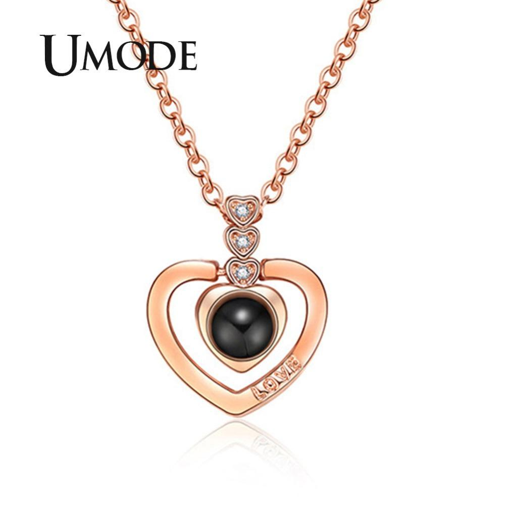 7a3b5dcafd Wholesale UMODE Rose Heart Letter Necklace I Love You Initial Necklace 100  Language Women Gifts Jewelries Collar Te Amo 100 Idiomas UN0313 Chunky  Necklaces ...