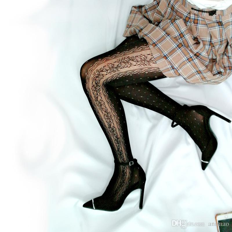 7a42cb4c6b39b8 2019 LOLITA Tights Socks Black Hollow Out Stripe Sexy Women Silk Stockings  Princess Lace Hot Style Panty Hose Socks From Animao, $10.66 | DHgate.Com