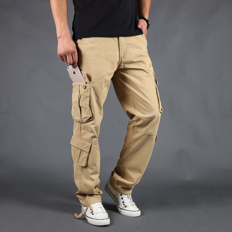 527a3f7b0ba 2019 2019 New Arrival Autumn Men Plus Size Cargo Pants Outdoor Sports  Running Loose Fatty Trousers Waist Male Multi Pocket Pant From Brandun