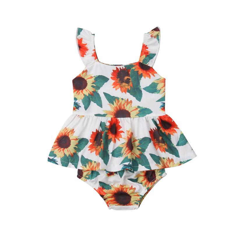 0196482de 2019 Lovely Newborn Clothes Baby Girl Clothing Set Sunflower Print Cotton T Shirt  Tops Shorts Newborn Outfit Baby Girl Clothes Set From Fkansis, ...