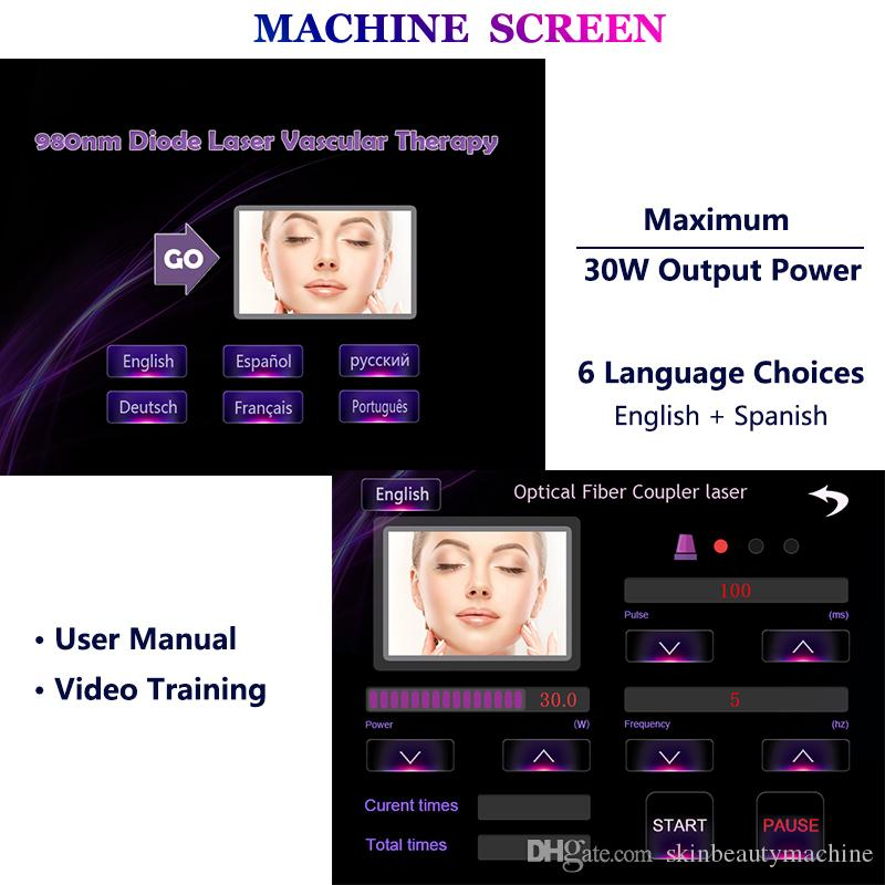 980nm Laser Vascular Treatment Vascular Removal Machine 30 Watts Facial Redness Lesion Legs Spider Vein Removal Devices