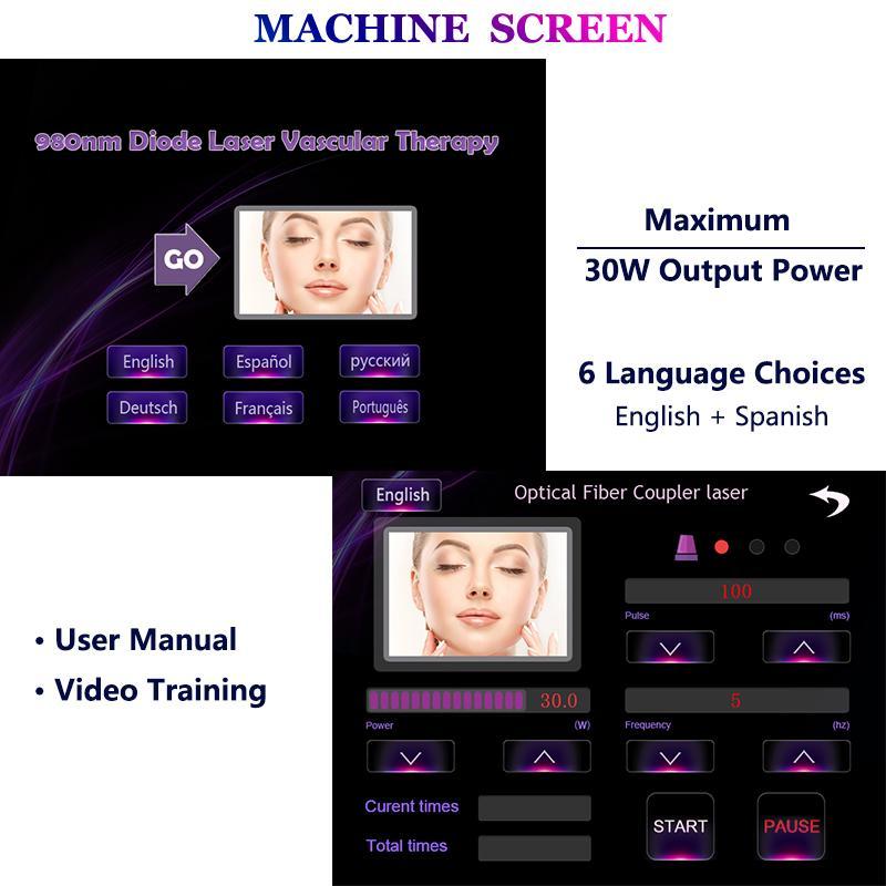 Bacaklar On İyi Fiyat Vasküler lazer tedavisi Makinası 980nm Lazer Örümcek Damarlar Temizleme Kızarıklık tamiri rahatlatmak