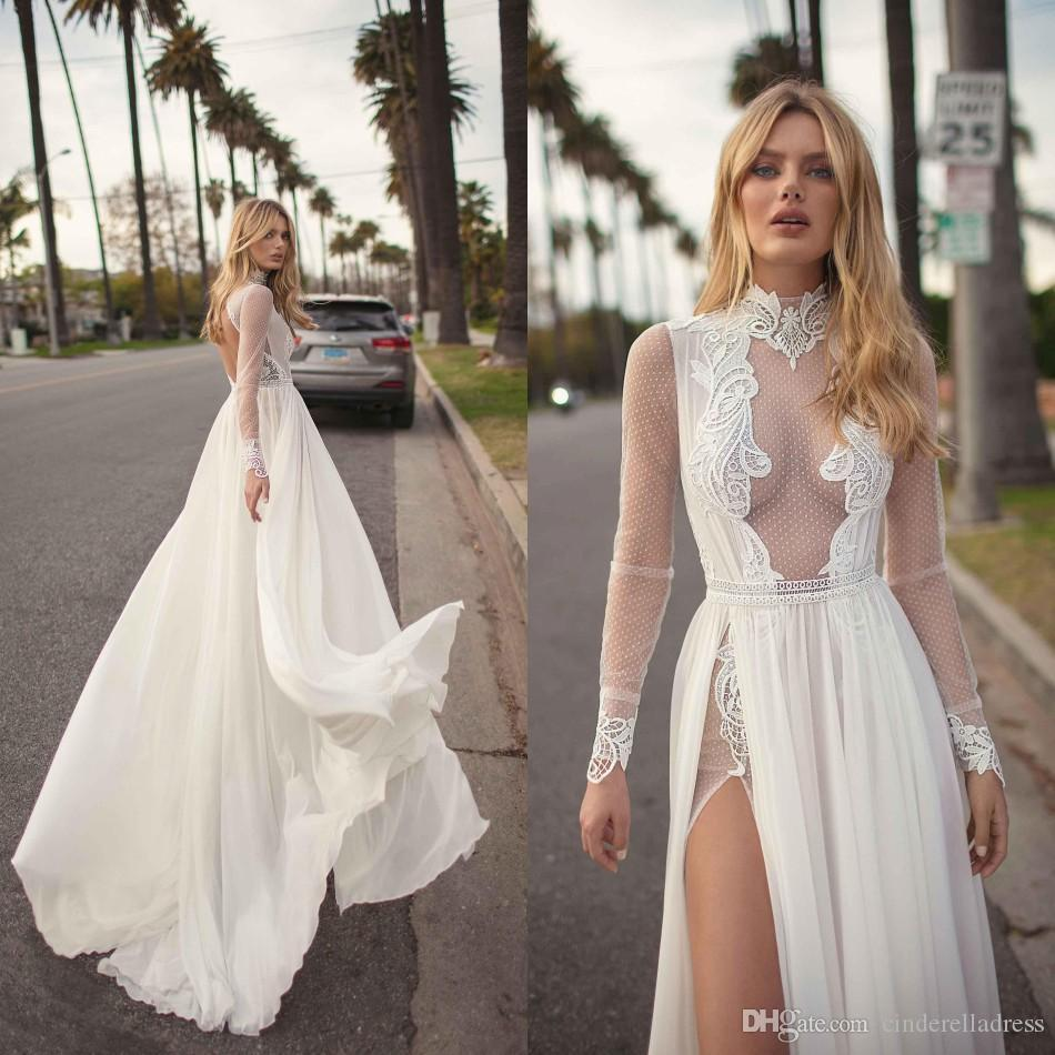 446d84cae5981 Discount 2019 Vintage Berta Bohemian Wedding Dresses A Line Lace Applique  Side Split High Neck Sexy Beach Wedding Gown Plus Size Bridal Dress BC1039  Wedding ...