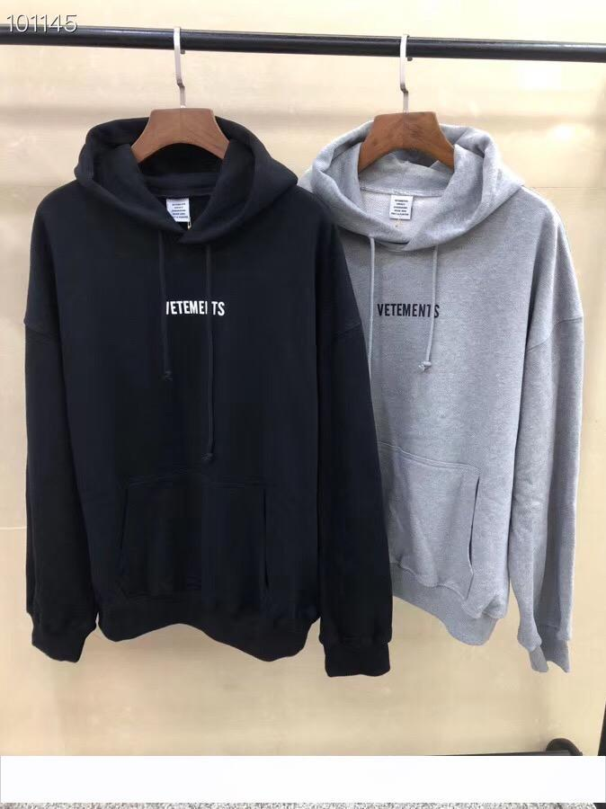 2019 Spring Summer Vetements Big Washing Label Fashion Casual Wear Hooded men women designer clothing Cotton Long Sleeve Hoodie