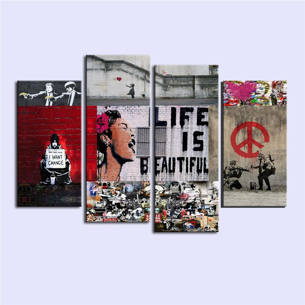 Banksy graffiticanvas prints wall art oil painting home decor unframed framed uk 2019 from xiaohua1214 gbp £13 65 dhgate uk
