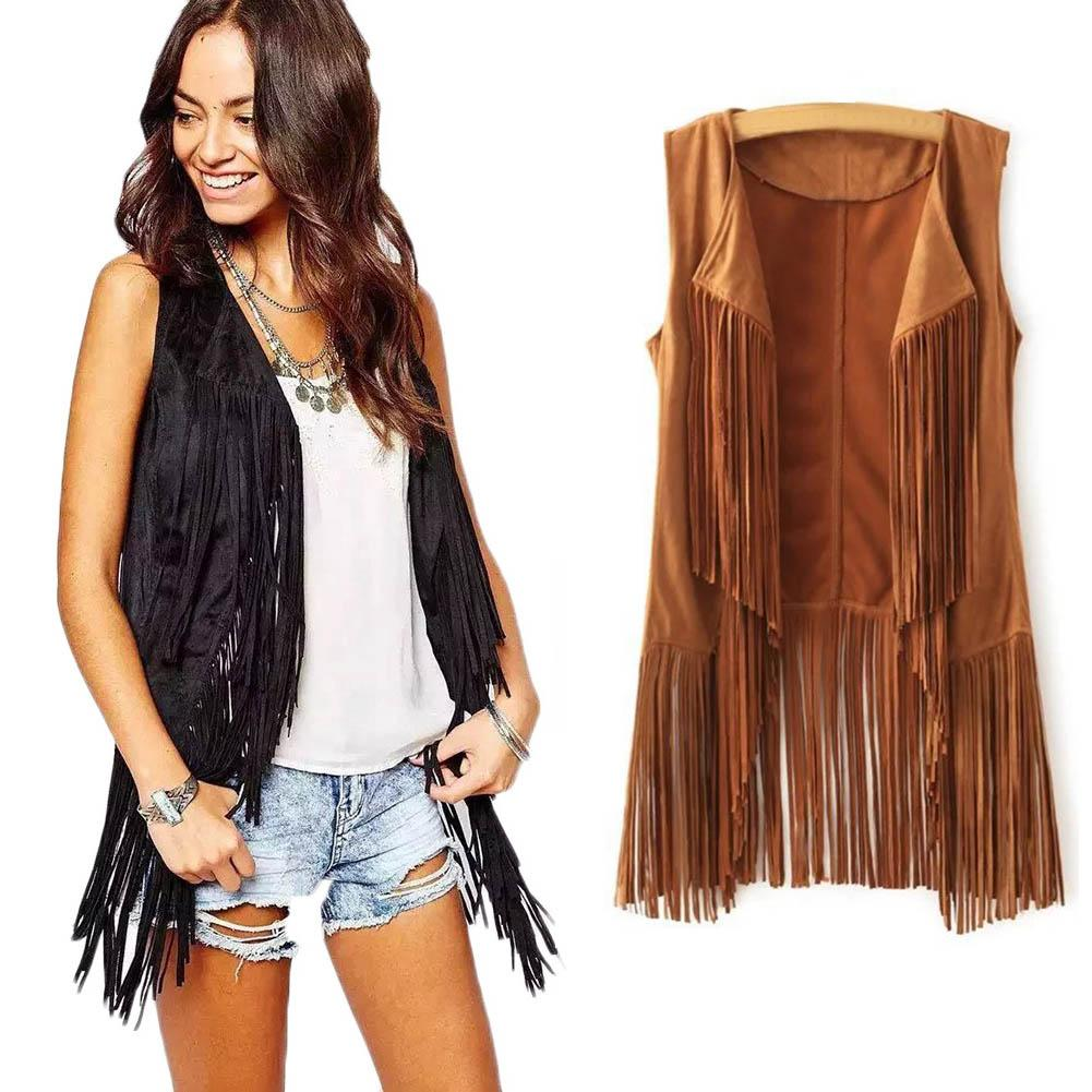 Women Autumn Winter Faux Suede Ethnic Sleeveless Tassels Fringed Vest Cardigan Hooded Coat Warm Sleeveless Vests Female