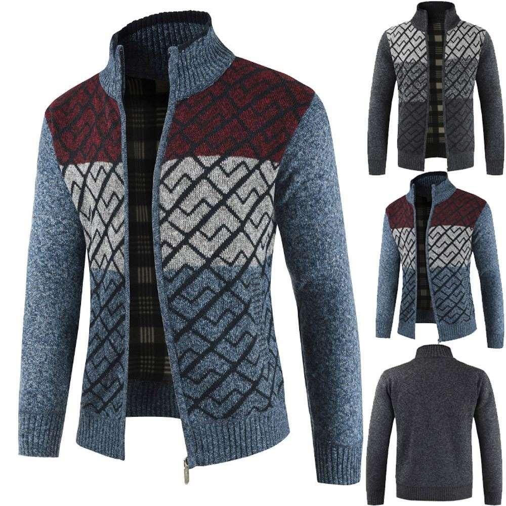 Giacca Uomo Autunno Inverno Solid Zipper Capispalla Maglia Cardigan Manica lunga Giacca da uomo Cappotto chaqueta hombre 18SEP28