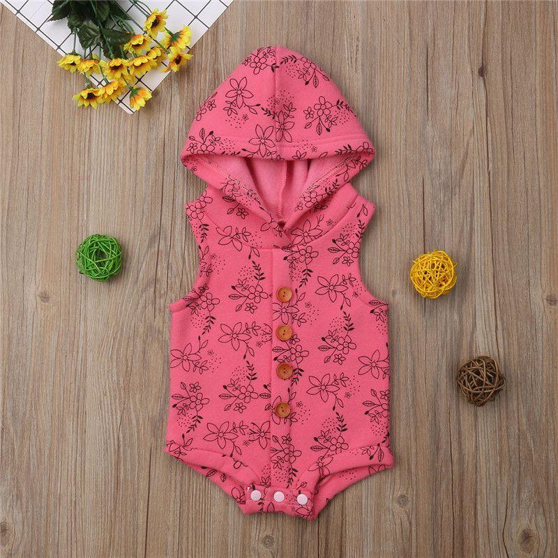 귀여운 어린이 아기 소년 소녀 후드 장난 꾸러기 인쇄 민소매 점프 슈트 캐주얼 장난 꾸러기 겨울 옷을 따뜻하게 두껍게