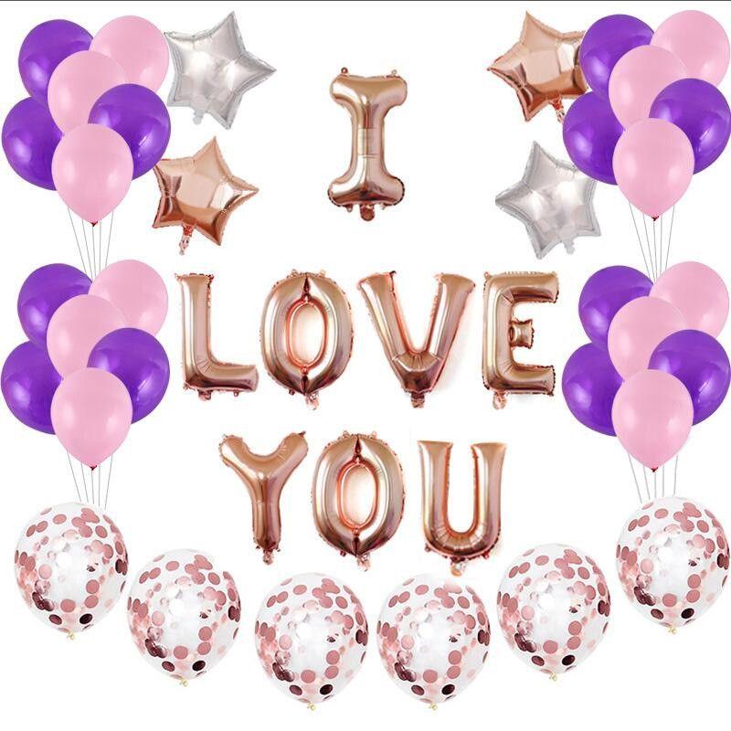 Acquista Set San Valentino I Love U Air Balloon Buon Compleanno