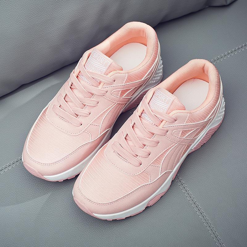 9da62c83f3cc1 Compre 2018 Primavera Nuevo Diseñador Coreano Cuñas Zapatillas De Deporte  De Plataforma Rosa Blanco Zapatos Con Cordones Negro Tenis Feminino Zapatos  ...