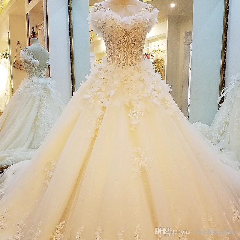 aca8e8998c112 Special 3D Flowers Wedding Dresses Lace Ball Gown Lace Up Open V-Back  Wedding Gown 2018 Newest Design Fast Deliver Free Shipping Bridal Gown