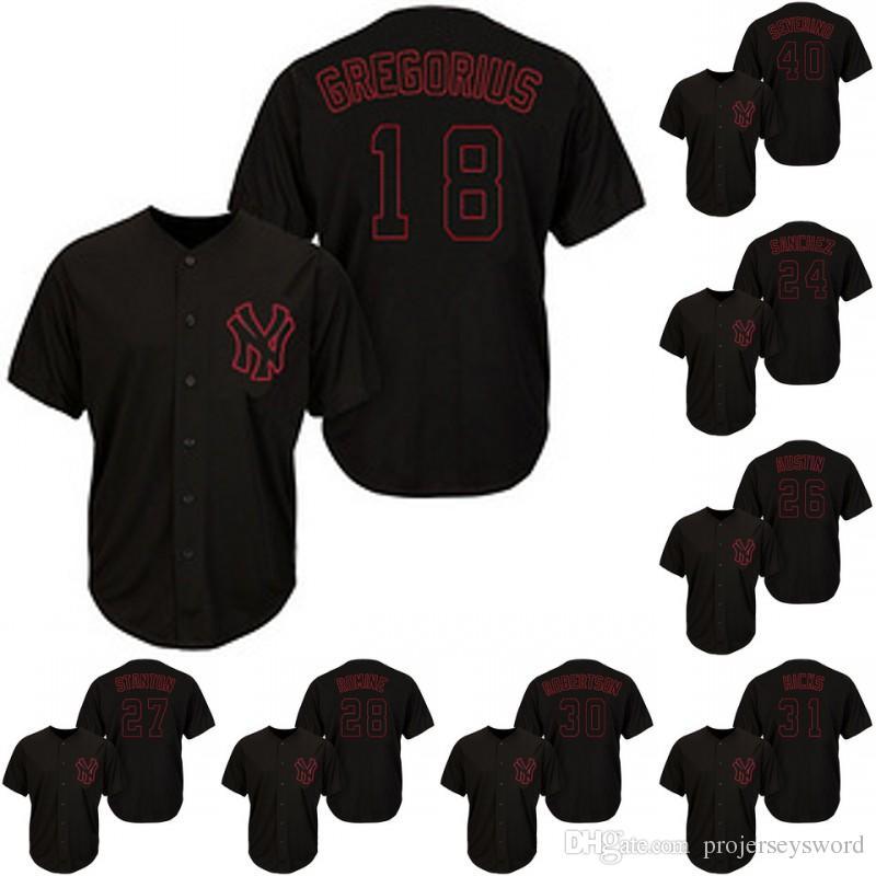 new arrivals f67cd 02382 New York 11 Brett Gardner 19 Masahiro Tanaka 24 Gary Sanchez 25 Gleyber  Torres 28 Austin Romine Yankees Baseball Jerseys Black