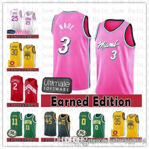 4ba72bbe4930 2019 Earned Edition Miami Dwyane 3 Wade Heat Golden State Jersey Warriors  Stephen 30 Curry Kevin 35 Durant Donovan 45 Mitchell Jimmy 76er Butler From  ...