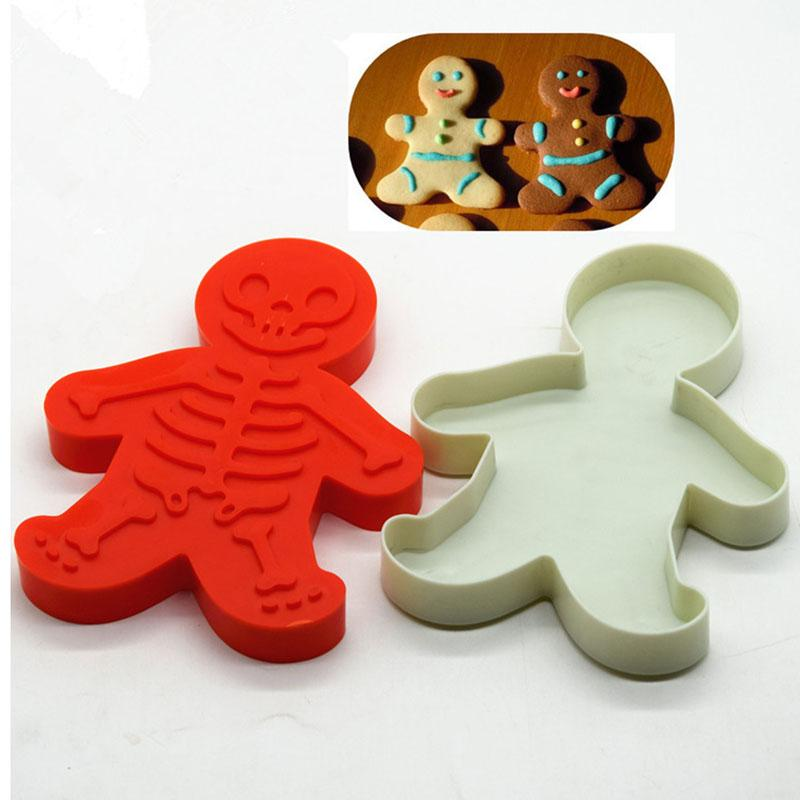 Gingerbread Man Shaped Mould White Plastic Mold For Cake Chocolate Baking Maker Diy Cookie Kitchen Bakeware For Christmas
