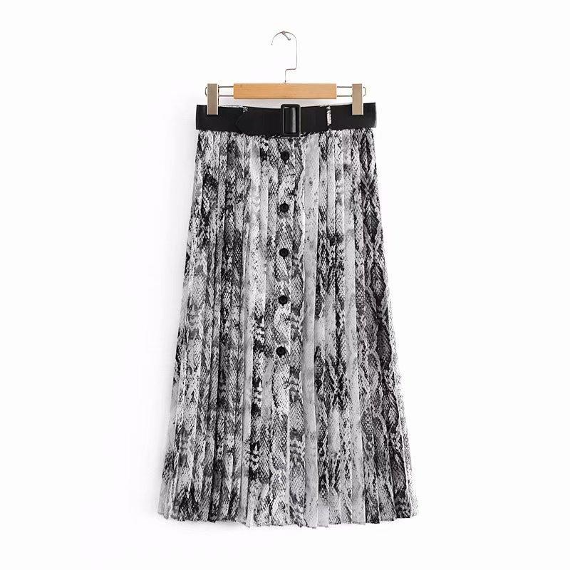 7a2f9c8d68 Compre 2018 Nuevas Mujeres Vintage Sexy Impresión De La Piel De Serpiente  Falda Midi Plisada Faldas Mujer Damas PU Fajas Chic Faldas Mid Calf QUN166  A ...