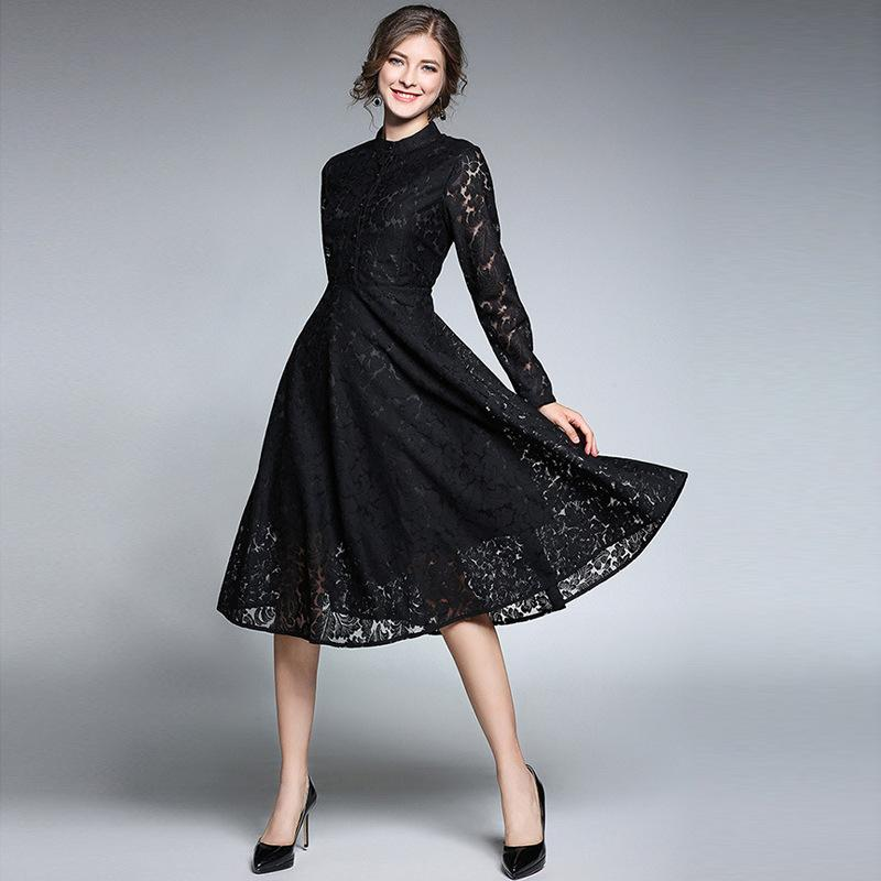aae8d2ac6c Elegant Lace Prom Dresses Sexy Hollow Out Stand Neck Long Party Formal  Evening Dresses Gowns Plus