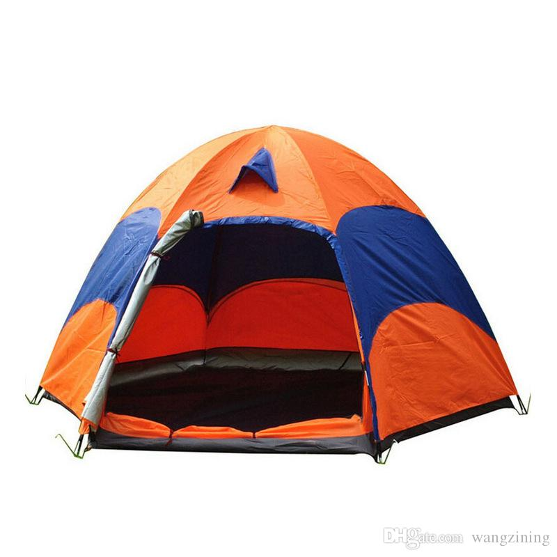 5-8 Person Large Camping Tent Double Layer Sun Shade UV Beach Tent Tourists Big Outdoor Hexagon Family Camping Tent