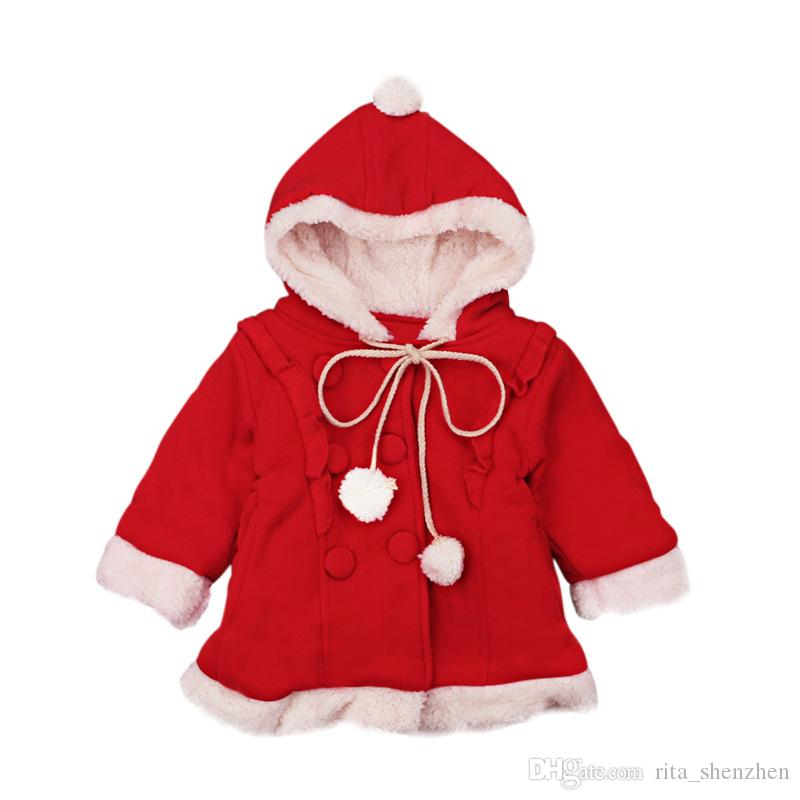 7fba1a9fe9d0 Girls Xmas Warm Hoodie RED Coat 1-4T Kids Cut Lace-up Hooded Outfits ...