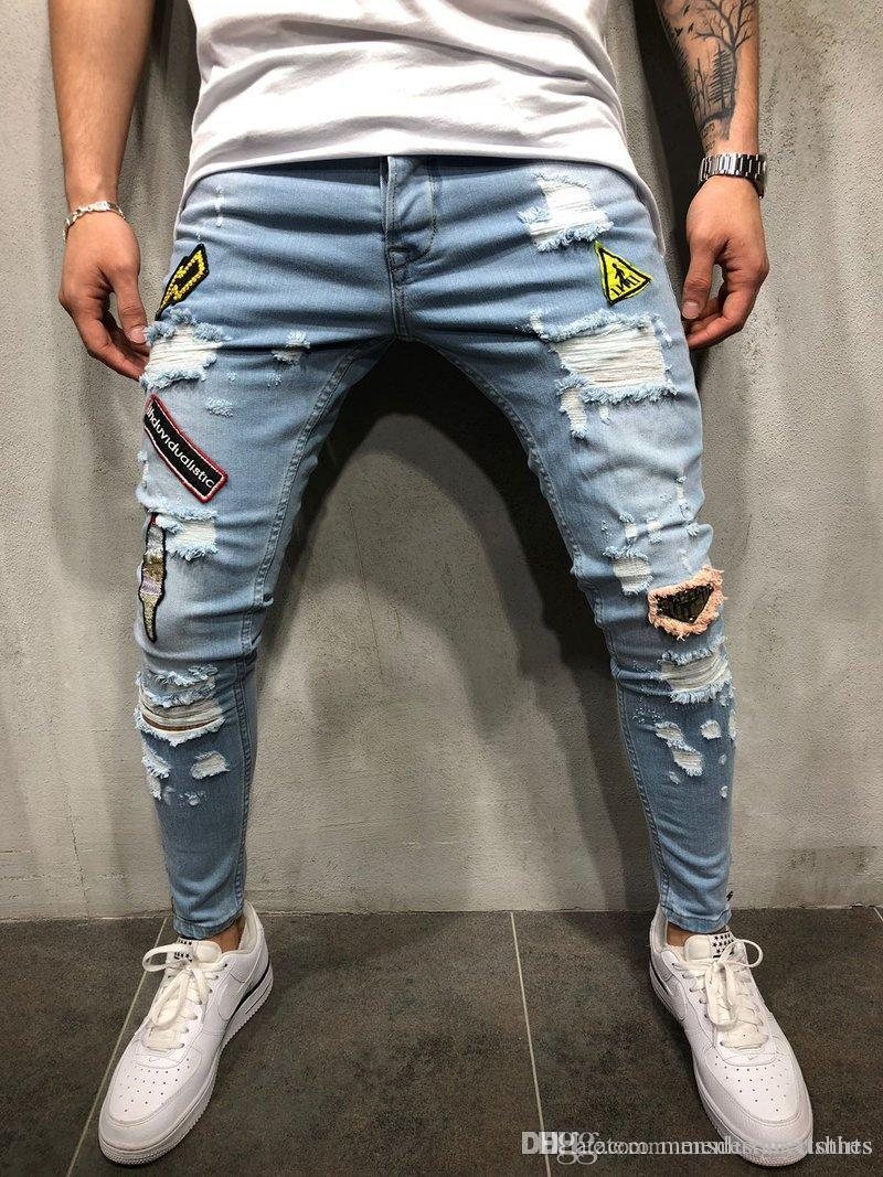 Mens Ripped Slim Fit Jeans Emblem Embroidered Designer Denim Blue Pencil Jean Pants HIPHOP Street Trousers