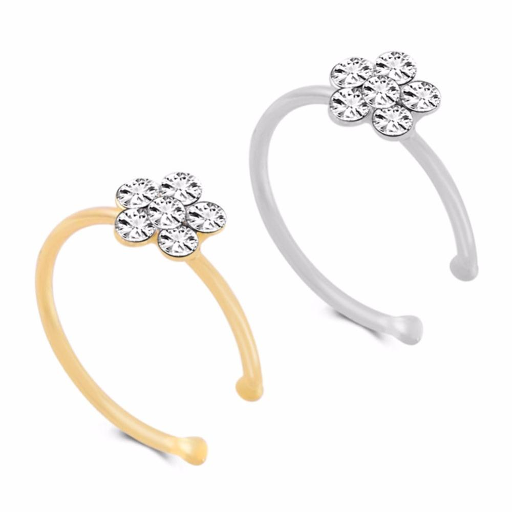 Fashion Crystal Nose Ring Indian Flower Nose Stud Hoop Septum Clicker Piercing Nose Clip Rings Body Piercing Jewelry free shipping