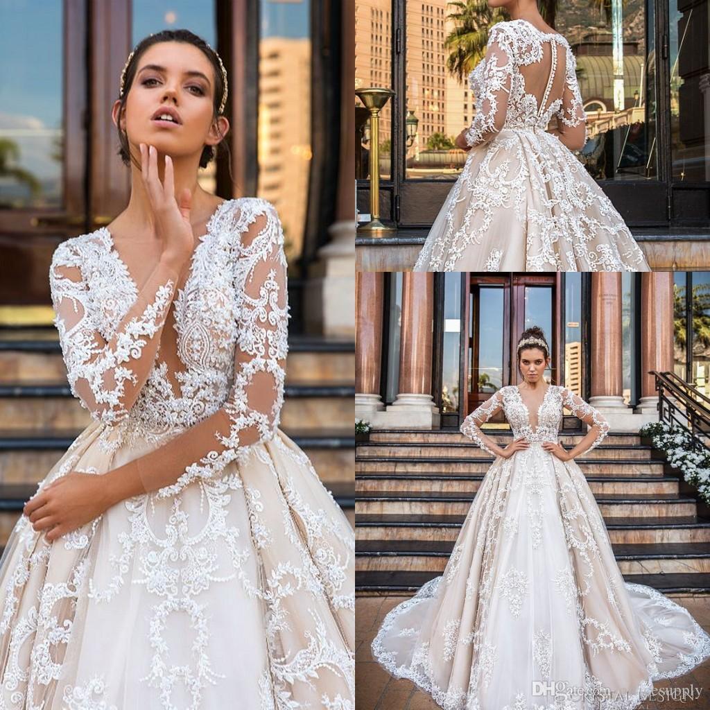 2cd999874de0 Modelos Vestido Noiva Lindo Laço Vestido De Baile Vestidos De Casamento 2019  Sexy V Pescoço Apliques Sheer Manga Longa Vestidos De Noiva Do Vintage  Vestido ...