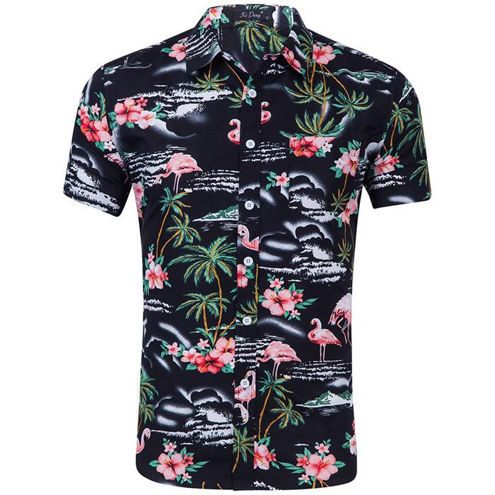 Fashion Flamingo Print Short Sleeve Shirts Turn-down Polyester Mens Casual Shirts Colorful Mens Clothing