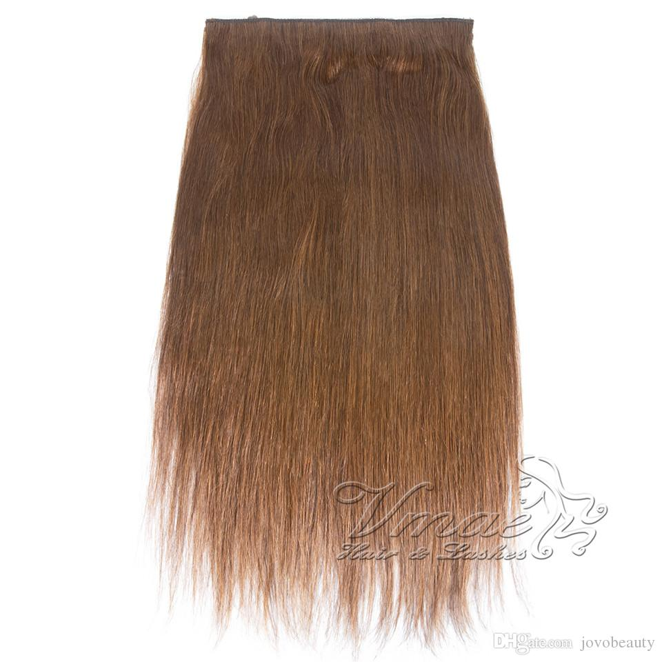 VMAE Malaysian Brown Blonde 120g 12 To 26 Inch Machine Weft Straight Halo Flip In Virgin Human Hair Extensions