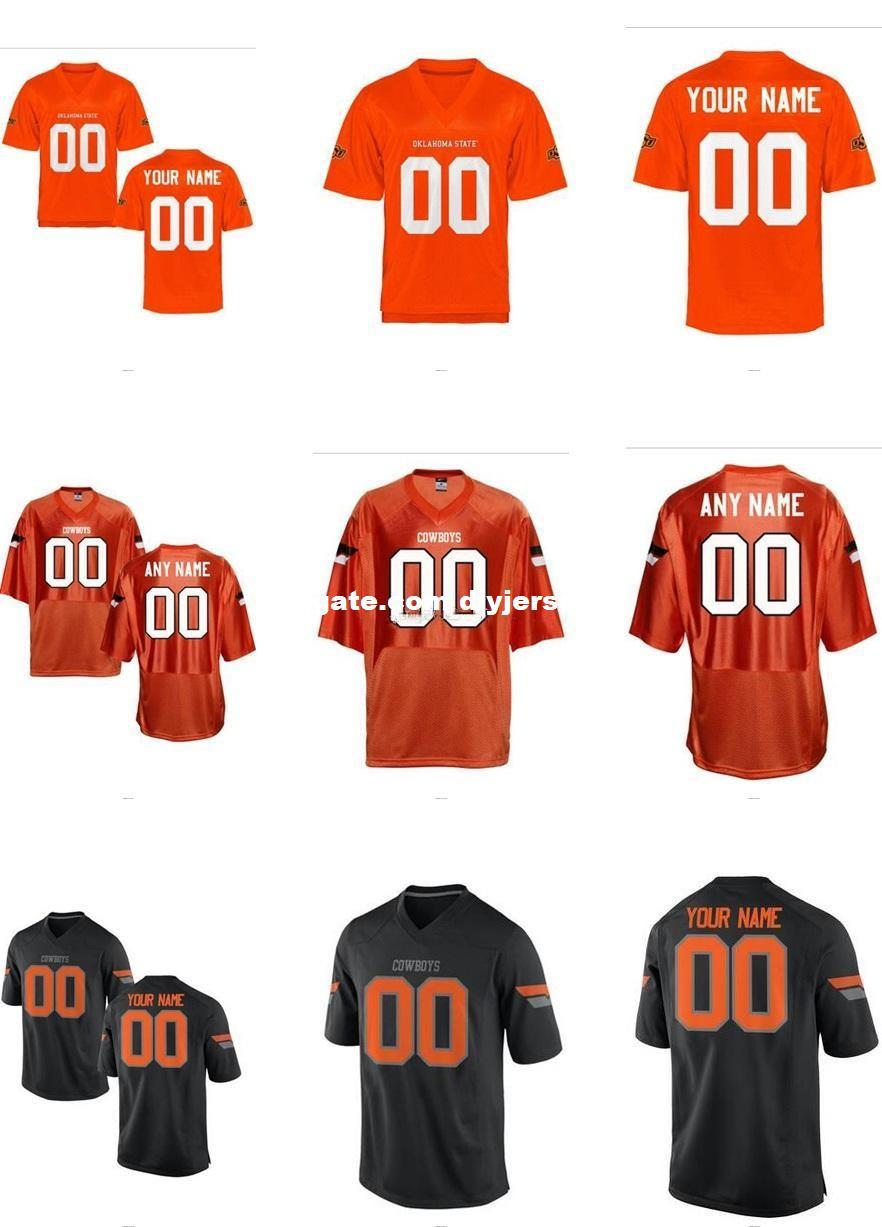 8274b22f Mens Women Youth/Kids Oklahoma State Cowboys Personalized/Customized  College Cheap jersey Black Orange Top Quality Drop Shipping Cheap