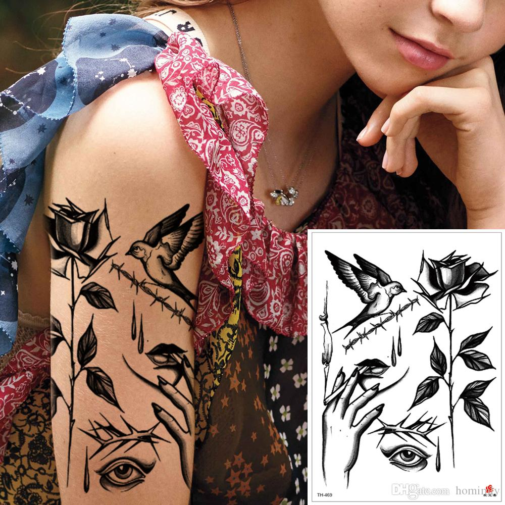 ce165c40a Waterproof Temporary Black Rose Flower Bird Body Art Tattoo Cool Fake Small  Arm Hand Leg Neck Chest Decal Tattoo Sticker Design Beach Summer Queen Of  Spades ...