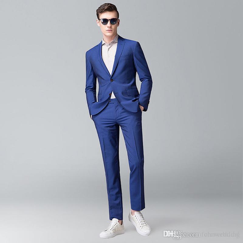 Compre Moda Royal Blue Casual Hombres De Boda Trajes Novios Esmoquin Slim  Fit Novio Trajes Dos Piezas Chaqueta + Pantalones Mejor Conjunto De Ropa  Para ... 32ecac920aa1