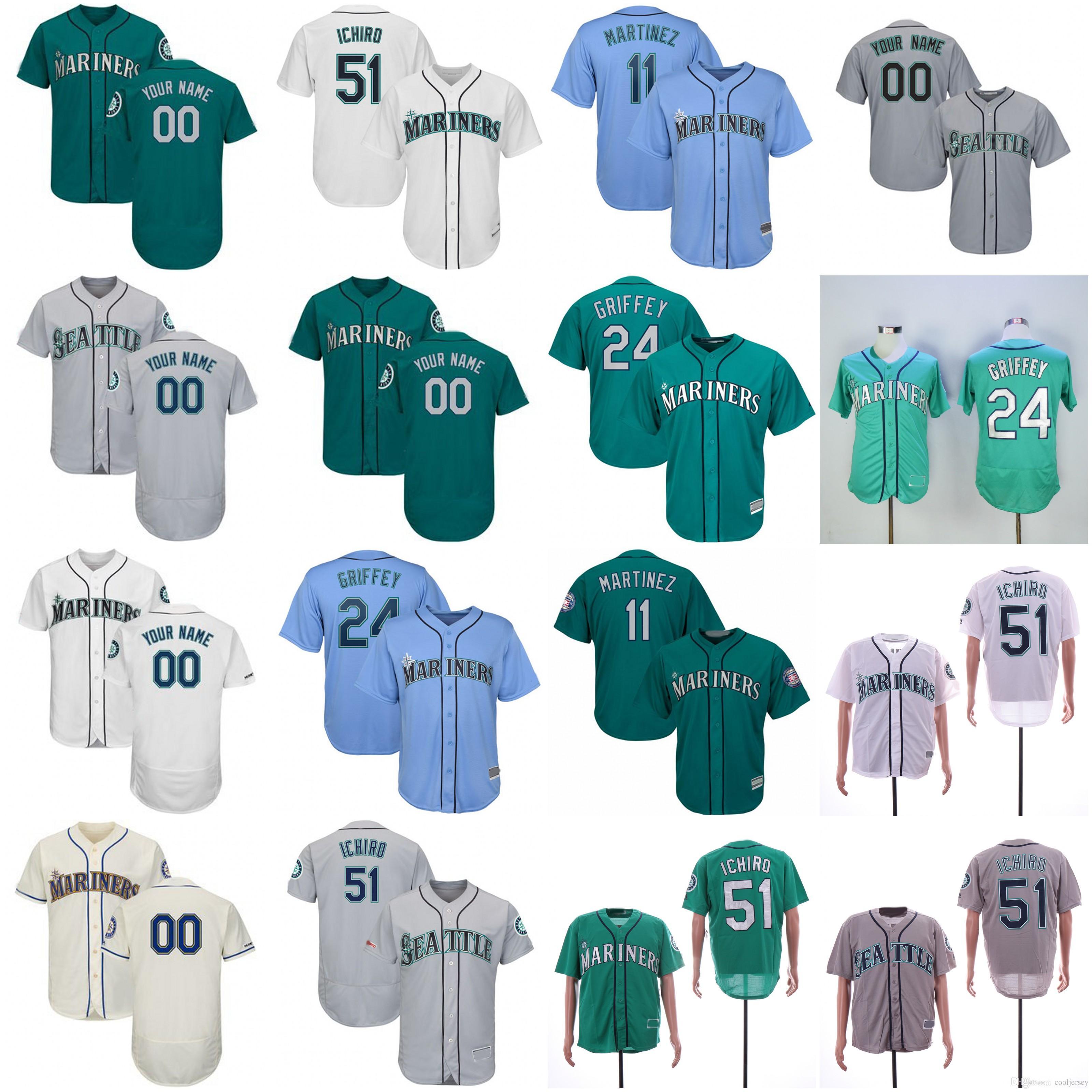 buy popular 14411 d5437 Custom Seattle Jersey Mariners 51 Ichiro Suzuki 24 Ken Griffey Jr. 11 Edgar  Martinez Tim Beckham Chasen Bradford Brandon Brennan Jay Bruce