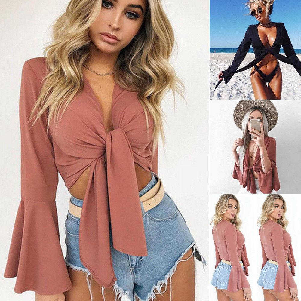 c9b59adf6 Sexy Women V Neck Long Flare Sleeve T Shirt Crop Tops Solid Slim Bow Tie  Front Short Summer Beach Tee Top Print On T Shirt Cheap Funny T Shirts From  ...
