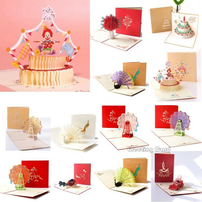 3D Pop Up Card Birthday Wedding Valentine Anniversary Greeting Cards Invitations