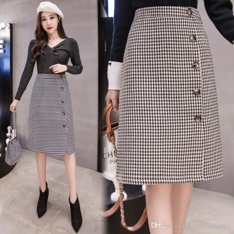 a20b0d6eb 2019 Women Midi Skirt High Waist Elegant Plaid Skirts New Fashion Single  Breasted Pencil Skirt Faldas From Brotherflagship, $25.13 | DHgate.Com