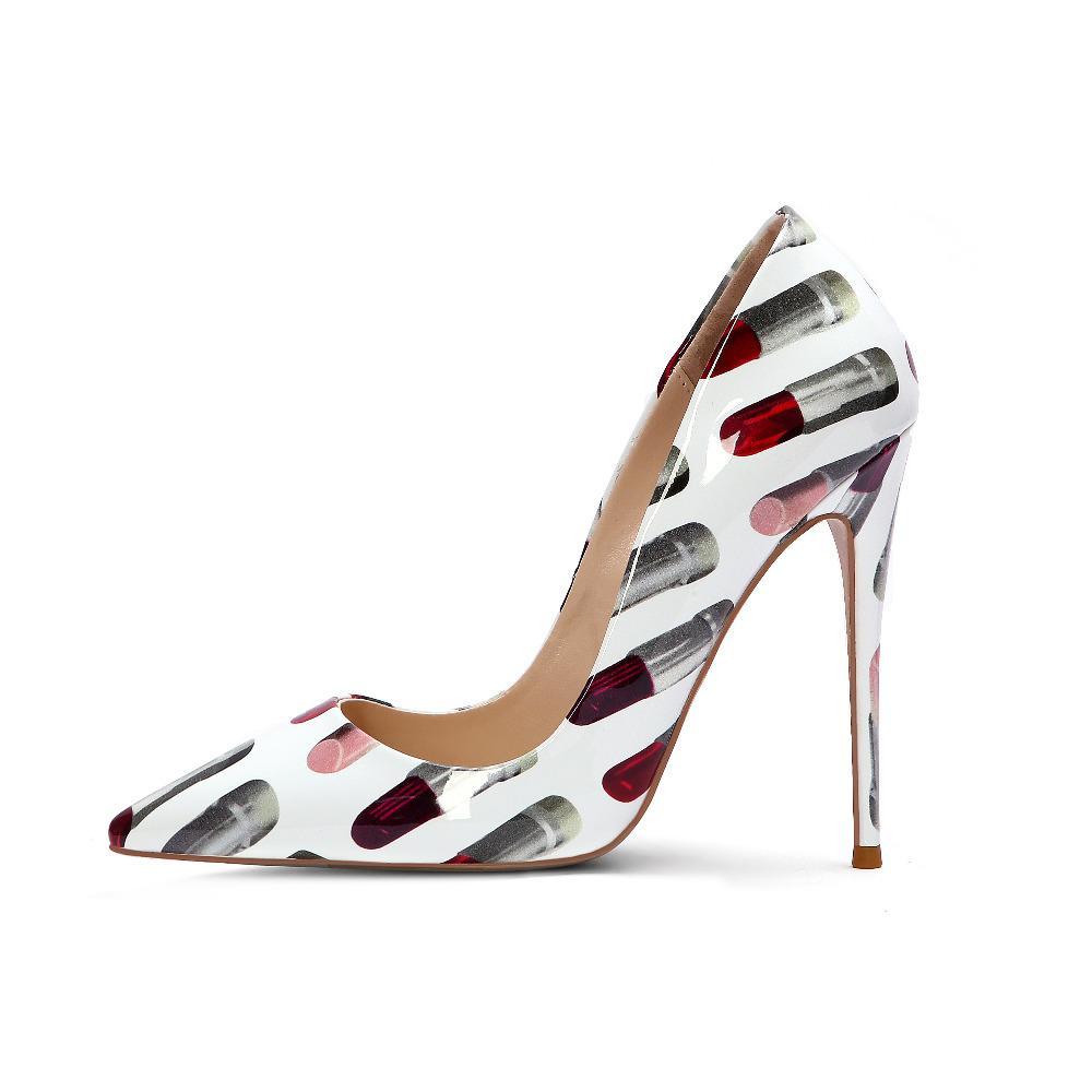 dcddad2eeeb3f8 Acheter Sexy Rouge À Lèvres Femmes Pompes Nouveau Hot Pointu Toe Talon Haut  Pompe Printemps Shallow Impression En Cuir Parti Chaussures Grande Taille  Navire ...